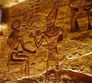 Sun God Ra, fresco inside of Abu Simbel Temple, Aswan, Egypt